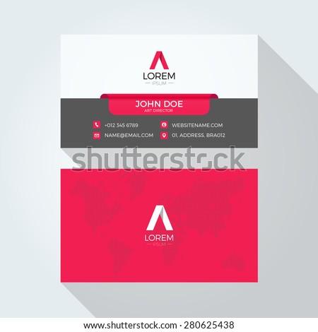 Flat A Letter Logo World Map Business card template - stock vector