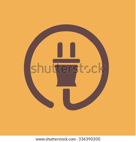 Flat a power plug vector icon - stock vector