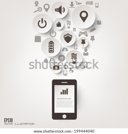Flat abstract background with web icons. Interface symbols. Cloud computing. Mobile devices.Business concept.