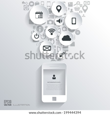 Flat abstract background with web icons. Interface symbols. Cloud computing. Mobile devices.Business concept. - stock vector