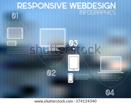 Flat abstract responsive webdesign technology infographics, on trendy blurred background