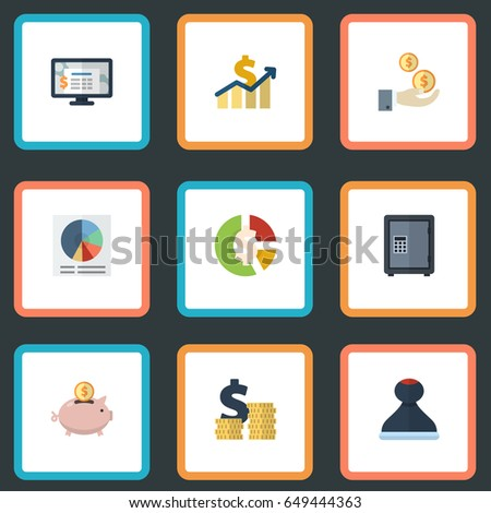 Flat Accounting System Moneybox Pie Bar And Other Vector Elements Set Of