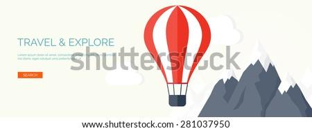 Flat air balloon. Travel and explore. - stock vector