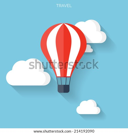 Flat air balloon with clouds web icon.  - stock vector