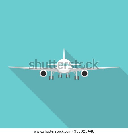 Flat air cargo plane icon with long shadow - stock vector
