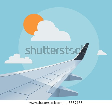 Flat airplane illustration, view of the wing from an airplane window - stock vector
