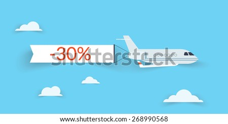 Flat airplane with shadow and white banner for sale - stock vector