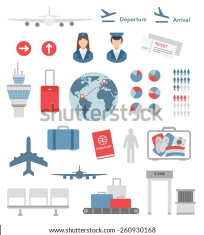 flat airport infographic elements and icons vector on white - stock vector