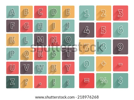 Flat alphabet A-Z icons multicolor set with long shadow. Calculator mathematics numbers - stock vector