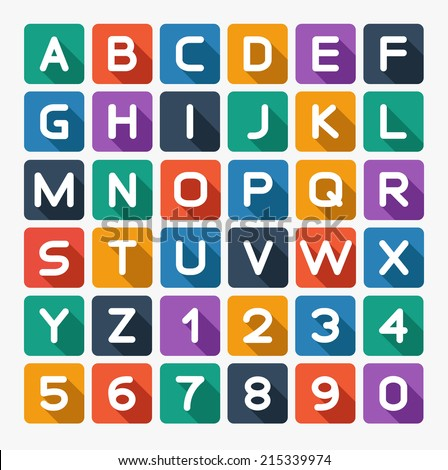 Flat alphabet rounded. Isolated on white. Vector illustration - stock vector