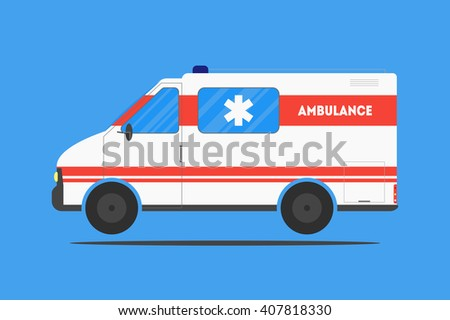 Flat ambulance car isolated on blue background. Medical healthcare concept. Emergency service. Poster, card, leaflet or banner template design with place for text. Vector illustration. - stock vector