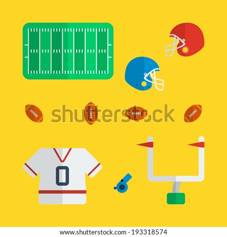 Flat american football icons design with yellow background - stock vector