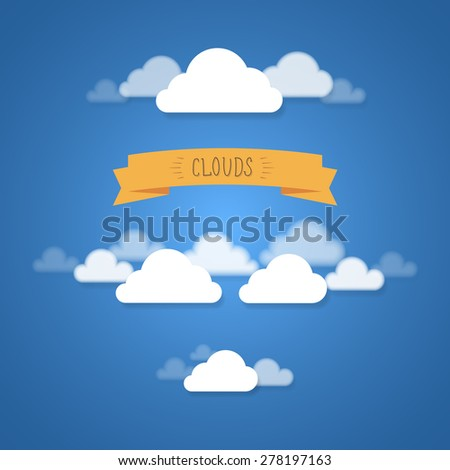 Flat and blurred vector clouds composition