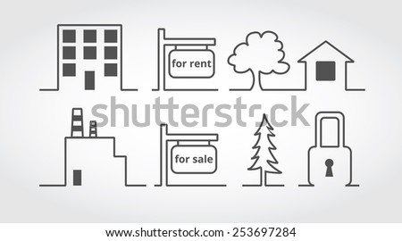 flat and simple icons, for rent symbol, for sale banner, Estate and realty - stock vector
