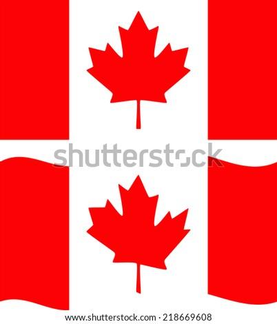 Flat and waving Canada Flag. Vector illustration - stock vector