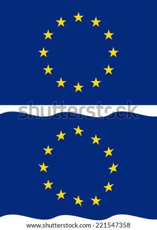 Flat and waving European Union Flag. Vector illustration - stock vector