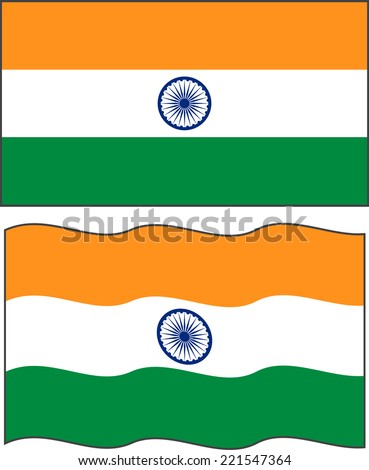 Flat and waving Indian Flag. Vector illustration - stock vector