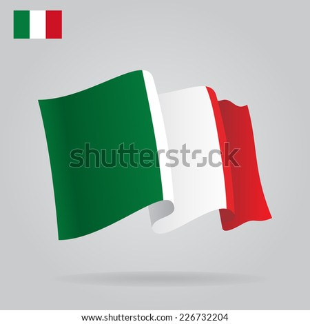 Flat and waving Italian Flag. Vector illustration - stock vector