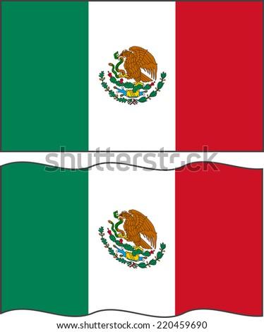 flat waving mexican flag vector illustration stock vector 220459690 rh shutterstock com