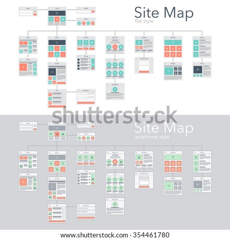 Flat and wireframe design style vector illustration concept of website flowchart sitemap. - stock vector