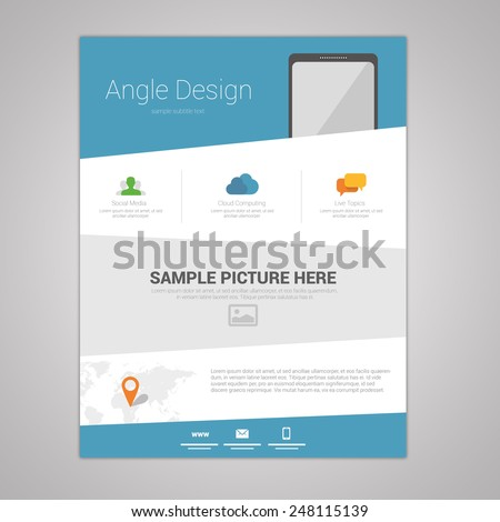 Flat Angle Design Newsletter Template Stock Vector - Web design newsletter template
