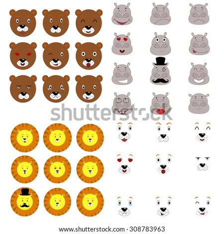 Flat animal emotions collection.