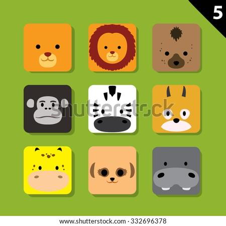 Flat Animal Faces Application Icon Cartoon Vector Set 5 (Safari) - stock vector