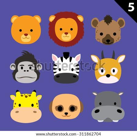 Flat Animal Faces Icon Cartoon Vector Set 5 (Safari) - stock vector