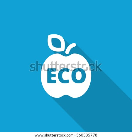 Flat Apple icon with long shadow on blue backround - stock vector