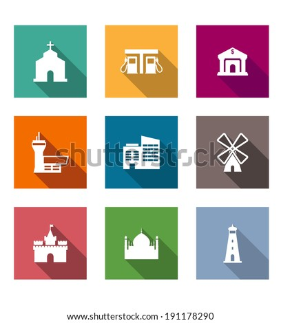 Flat architectural icons set on colorful web buttons depicting a church, lighthouse, airport, gas station, factory, windmill, castle, mosque and bank - stock vector