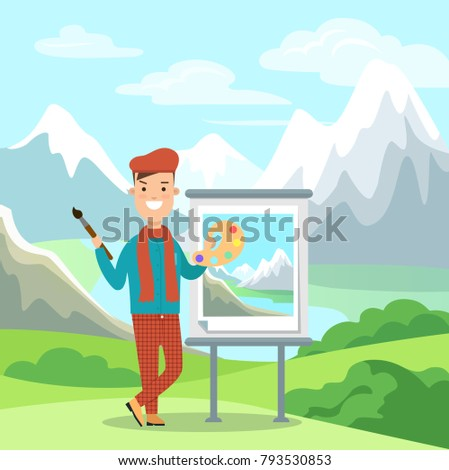 Flat artist painting picture on easel mountain landscape vector illustration. Male painter with color palette and brush on snow peaks background