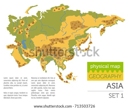Flat Asia Physical Map Elements Isolated Stock Vector 713503726 ...