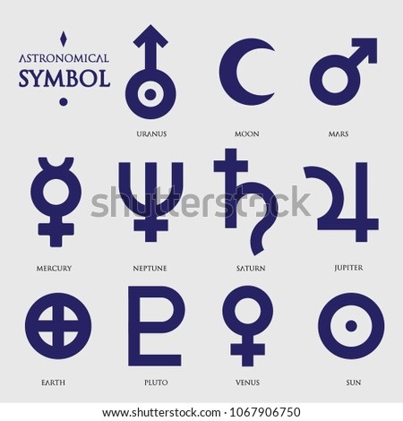 Flat Astronomy Symbols Stock Vector 1067906750 Shutterstock
