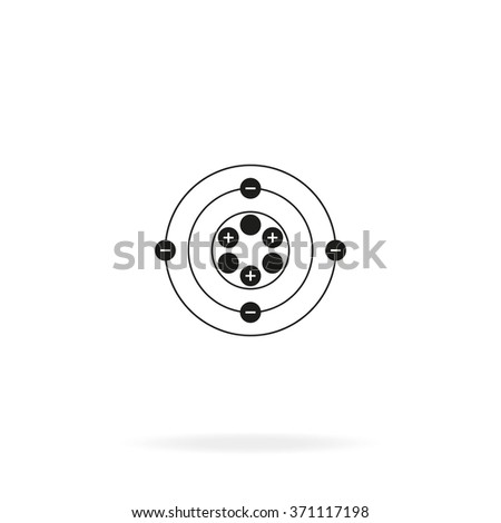 Flat atom icon. - stock vector