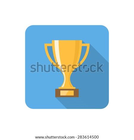 Flat award icon with long shadow. Vector illustration - stock vector