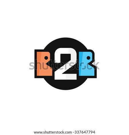 Flat B2B letters logo icon in outline linear and circle style. Two business persons speaking and number 2. - stock vector