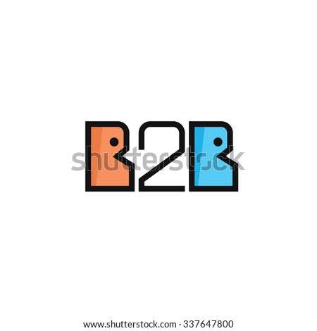 Flat B2B letters logo icon in outline linear. Two business persons speaking  and number 2. - stock vector