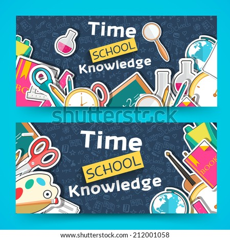 flat back to school horizontal banners concept. Vector illustration design - stock vector