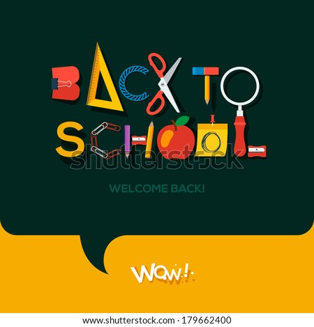 Flat Back to school sign, vector Eps10 image  - stock vector
