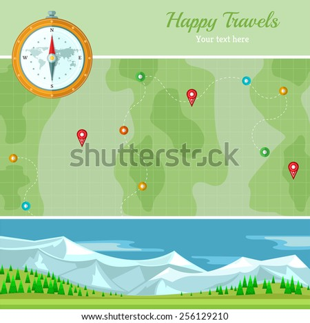 flat background vector map with mountains landscape and compass - stock vector