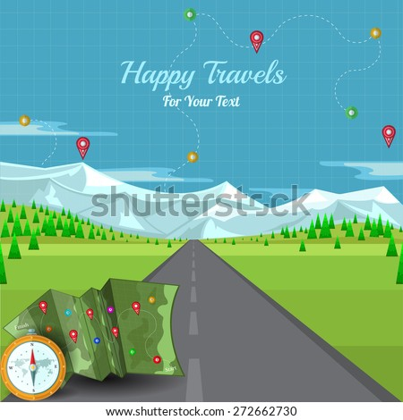 flat background vector road disappearing into the horizon with landscape and compass map mountains and pins - stock vector