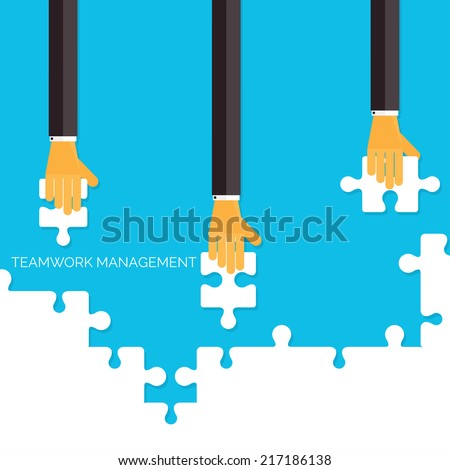 Flat background with hands and puzzles. Teamwork management concept.Business, analyzing organization. - stock vector