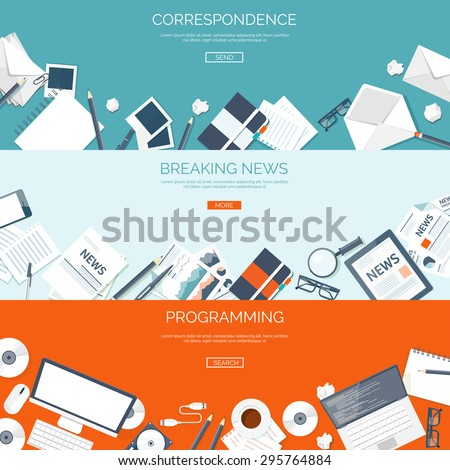 Flat backgrounds set. Correspondence and chatting, emailing. Breaking online news. Programming and coding. - stock vector