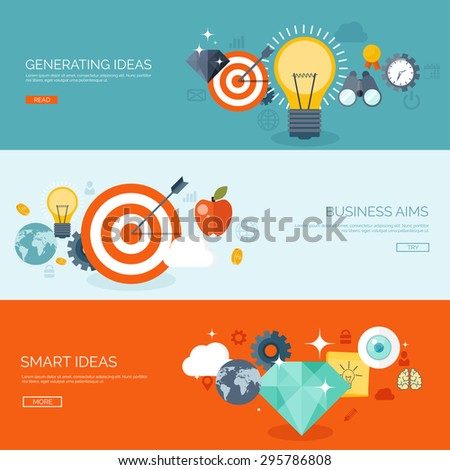 Flat backgrounds set. Generating idea. Busing less aims. Smart ideas. Achievement and discovery. - stock vector