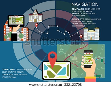 Flat backgrounds set. Navigation and traveling. Map pointer and location finding. Web application. - stock vector