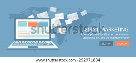 Flat banner.E-mail marketing illustration. Eps10 - stock vector