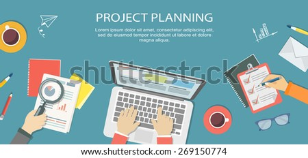 Flat banner of bussiness strategy. Desktop with objects and hands. Eps10 - stock vector