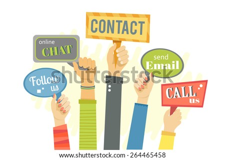 Flat banner of hands holding signs with social actions. Eps10 - stock vector