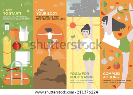 Flat banner set of health yoga life, practice yoga on physical, mental, emotional, spiritual, energetic level, equipment and things for starting. Flat design style modern vector illustration concept - stock vector