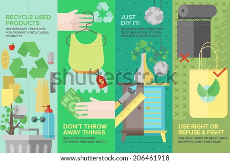 Flat banner set of second-hand clothing, used goods and products, recycling waste and old items for ecology protection, diy furniture and things. Flat design style modern vector illustration concept. - stock vector
